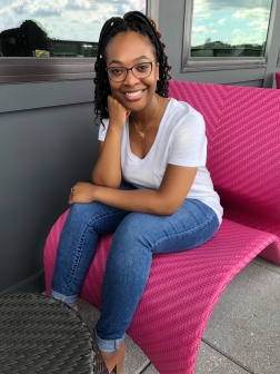 Cheesing in a funky rooftop chair in downtown Atlanta.