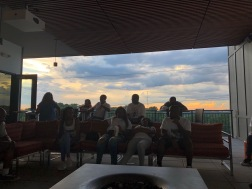 Hanging out on my cousin's apartment rooftop after a big meal.